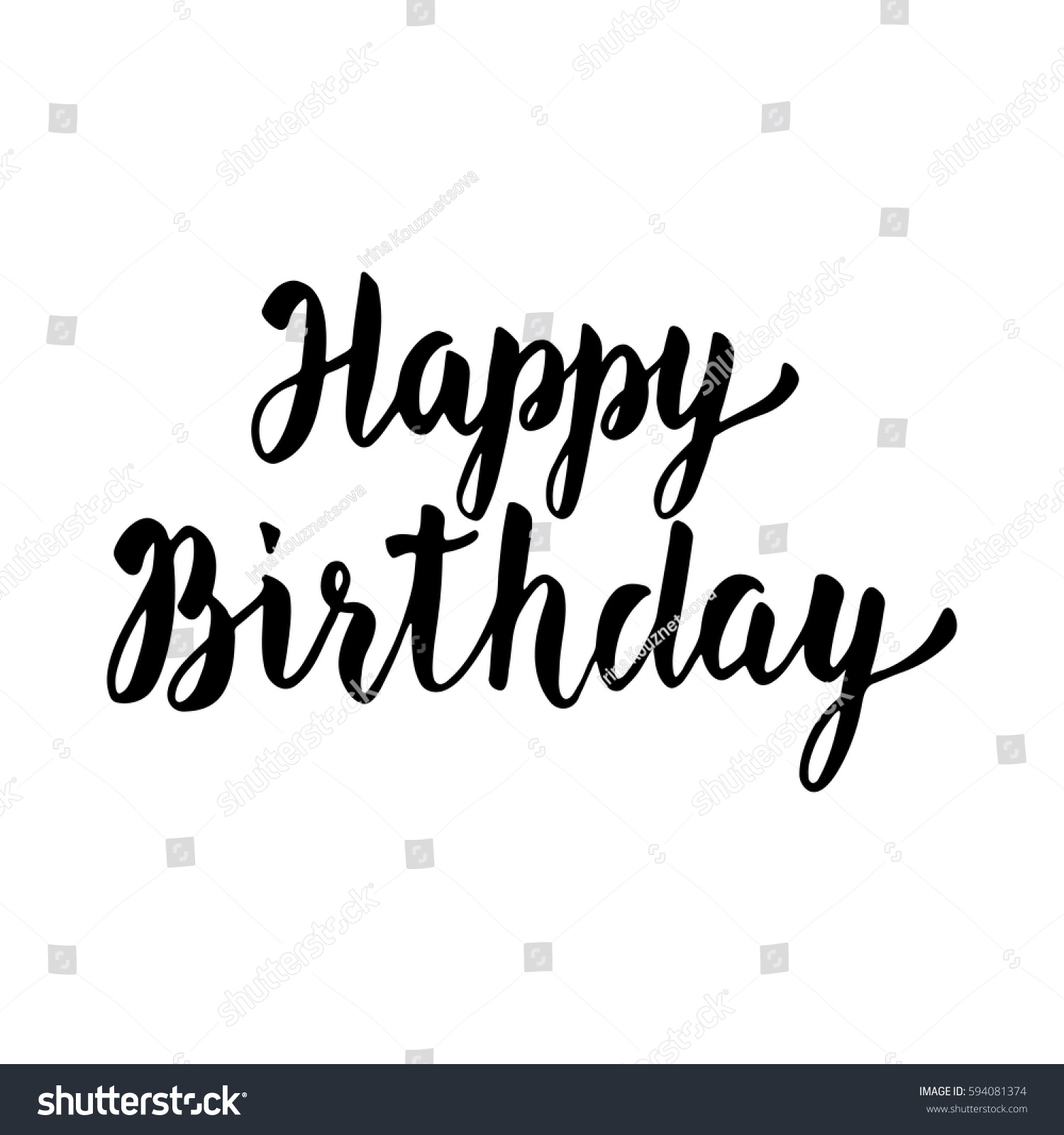 Happy birthday hand drawn lettering modern stock vector