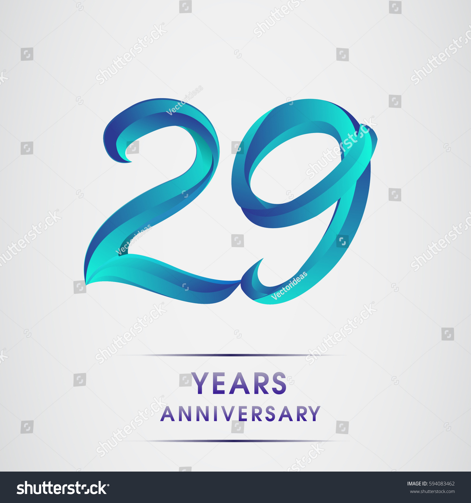 Twenty Nine Years Anniversary Celebration Logotype Blue Colored Isolated On White Background 29th Birthday Logo For Invitation Card Banner And Greeting