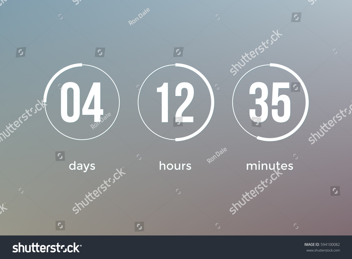 Countdown Web Site Vector Flat Template Stock Vector Royalty Free