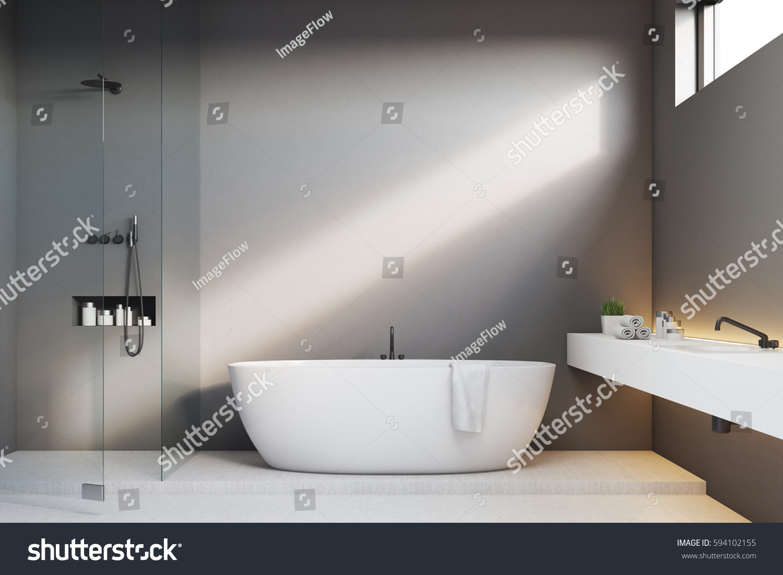 luxury bathroom interior gray walls shower stock illustration