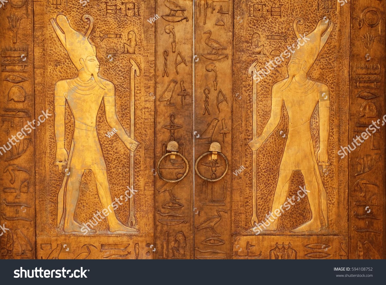 Gateway ancient egyptian pyramids egypt africa stock photo edit