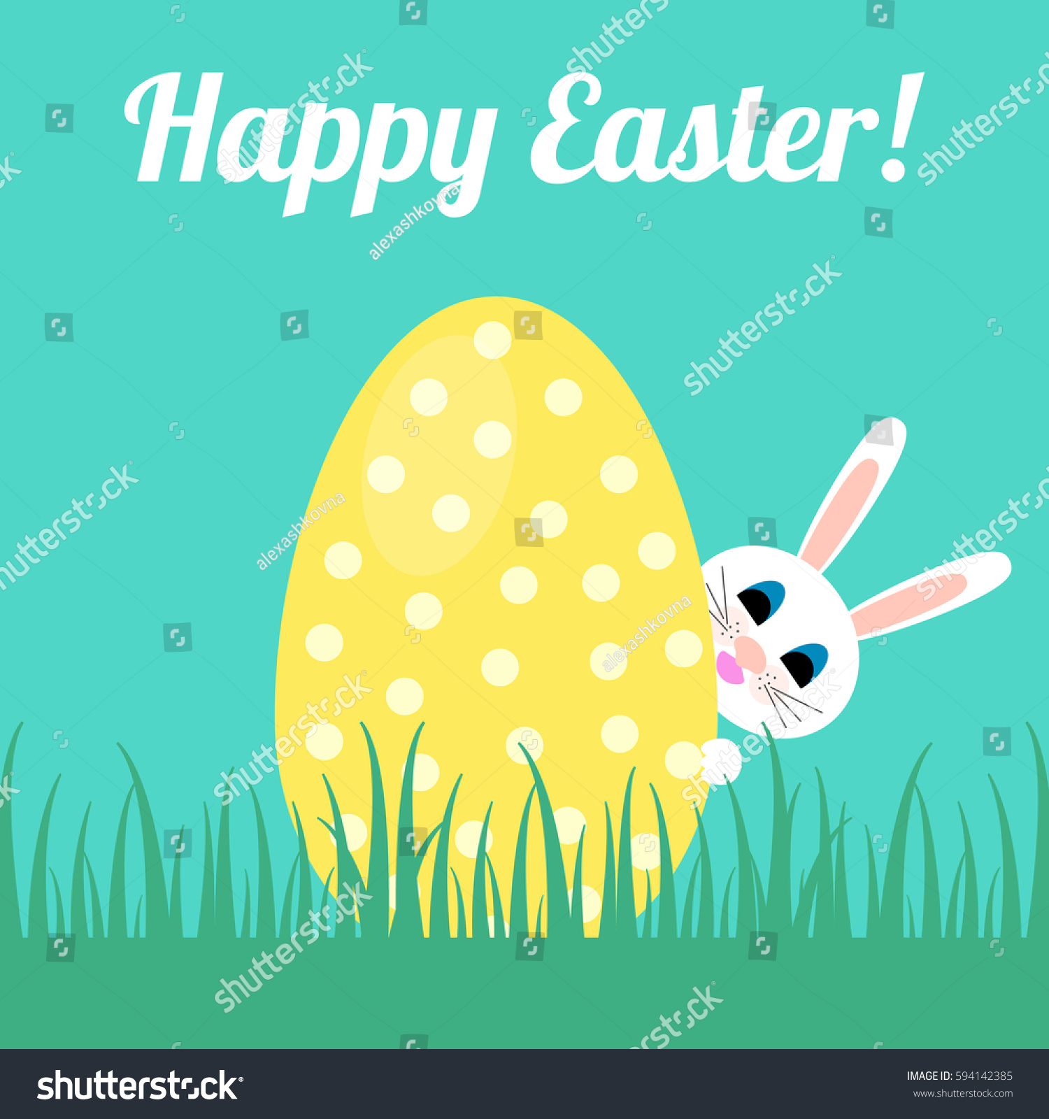 Happy easter greeting card easter bunny stock photo photo vector happy easter greeting card with the easter bunny hiding behind egg vector illustration m4hsunfo