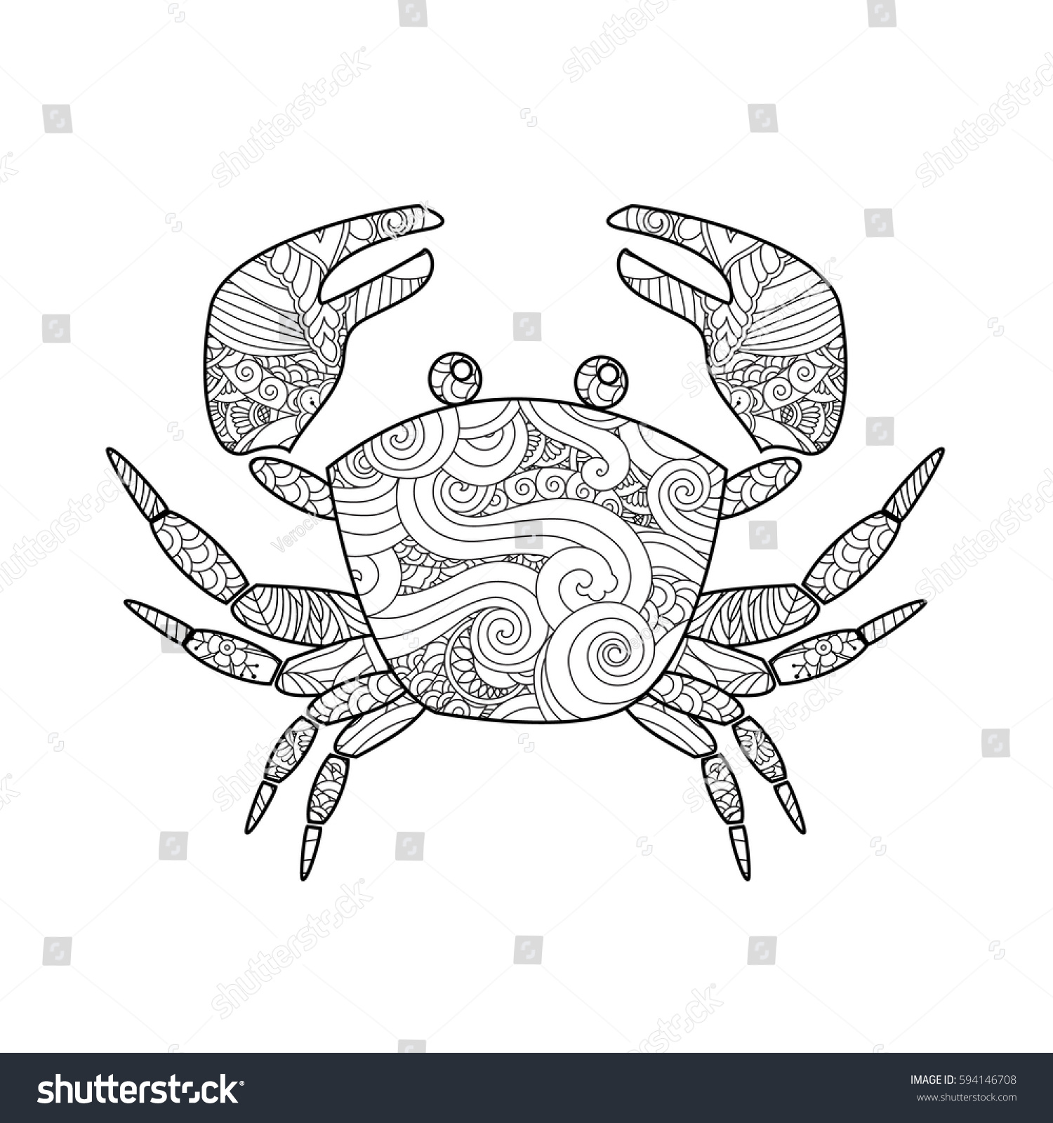 Coloring Page Ornate Crab Isolated On White Background Square Composition Book For