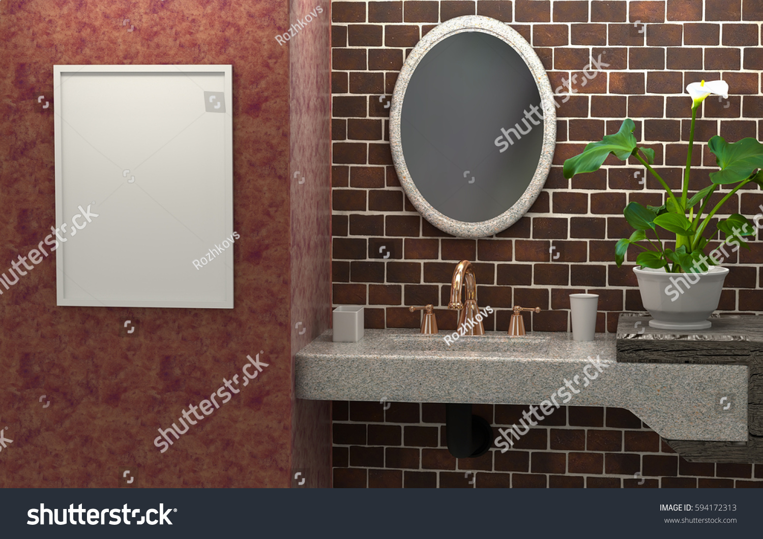 3d Interior Of The Bathroom A Brick Wall. Abstract Furniture With A Mirror  And An