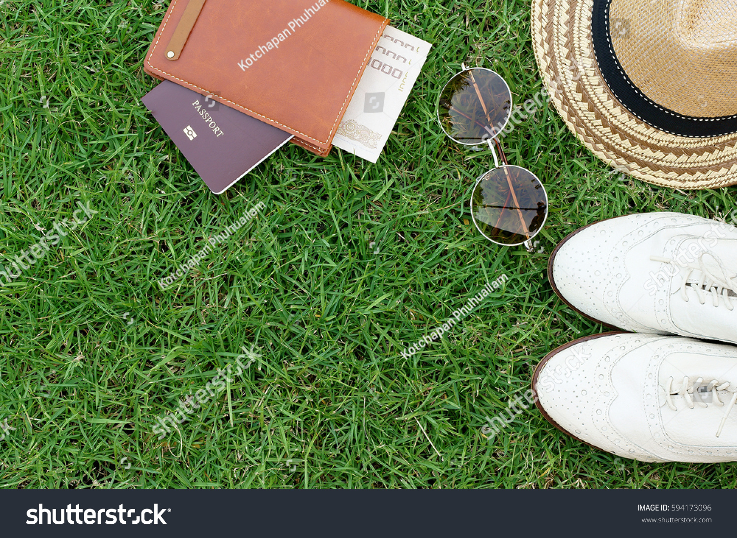 Hats Passport Glasses Shoes On Grass Stock Photo 594173096 ...