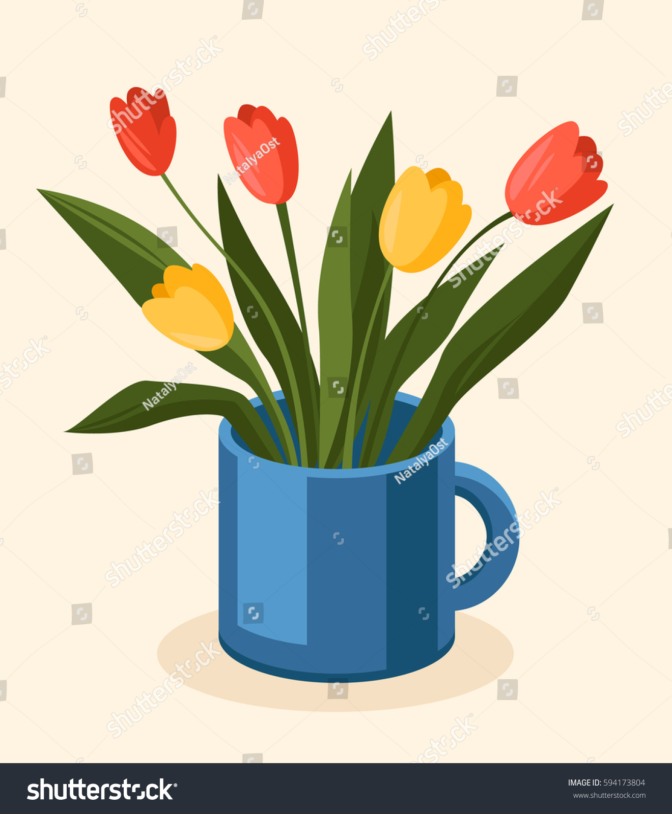 Bouquet Colorful Tulips Flowers Stand Blue Stock Vector (2018 ...