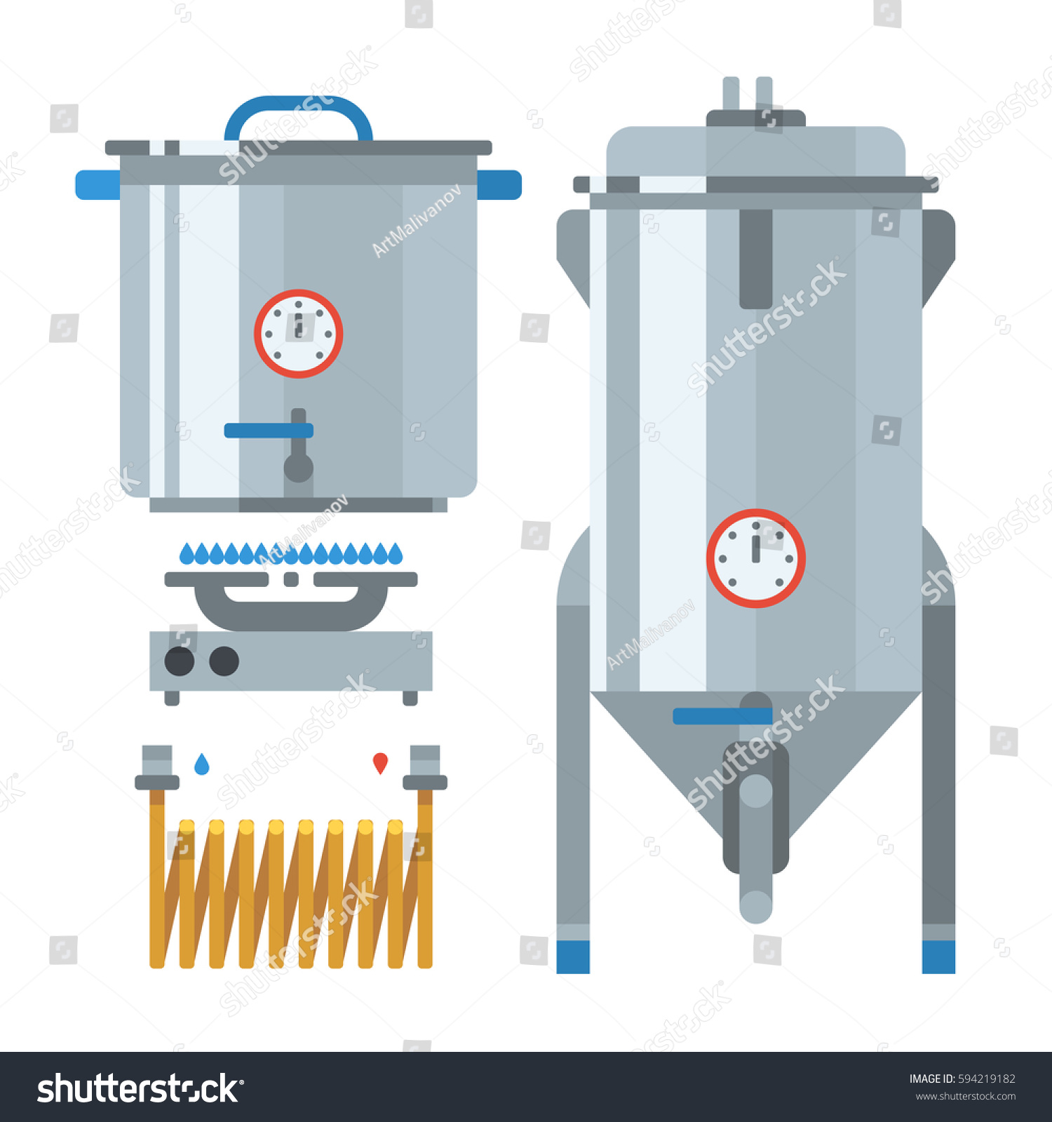 Home Brewing Factory Production Items Main Stock Vector