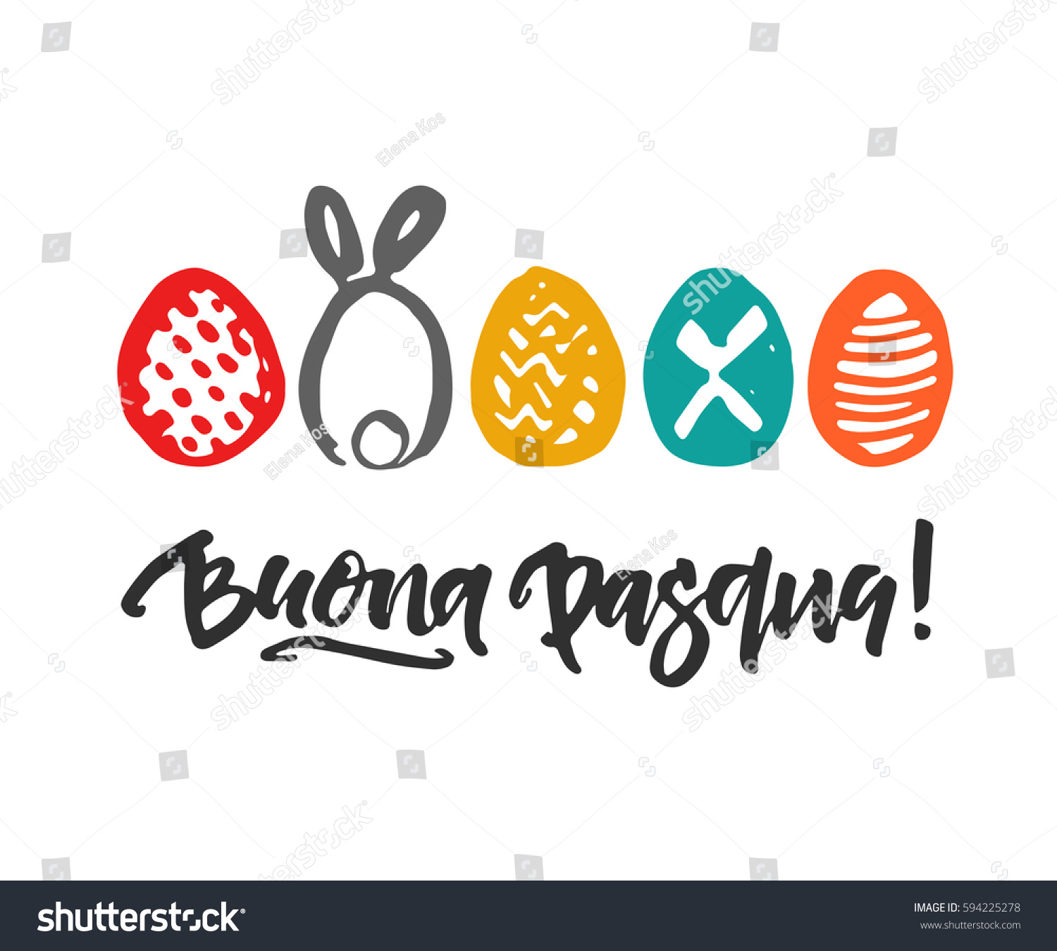 Happy easter italian greeting cardhand written stock vector happy easter in italian greeting cardhand written and drawn ink eggs and calligraphy phrase kristyandbryce Images