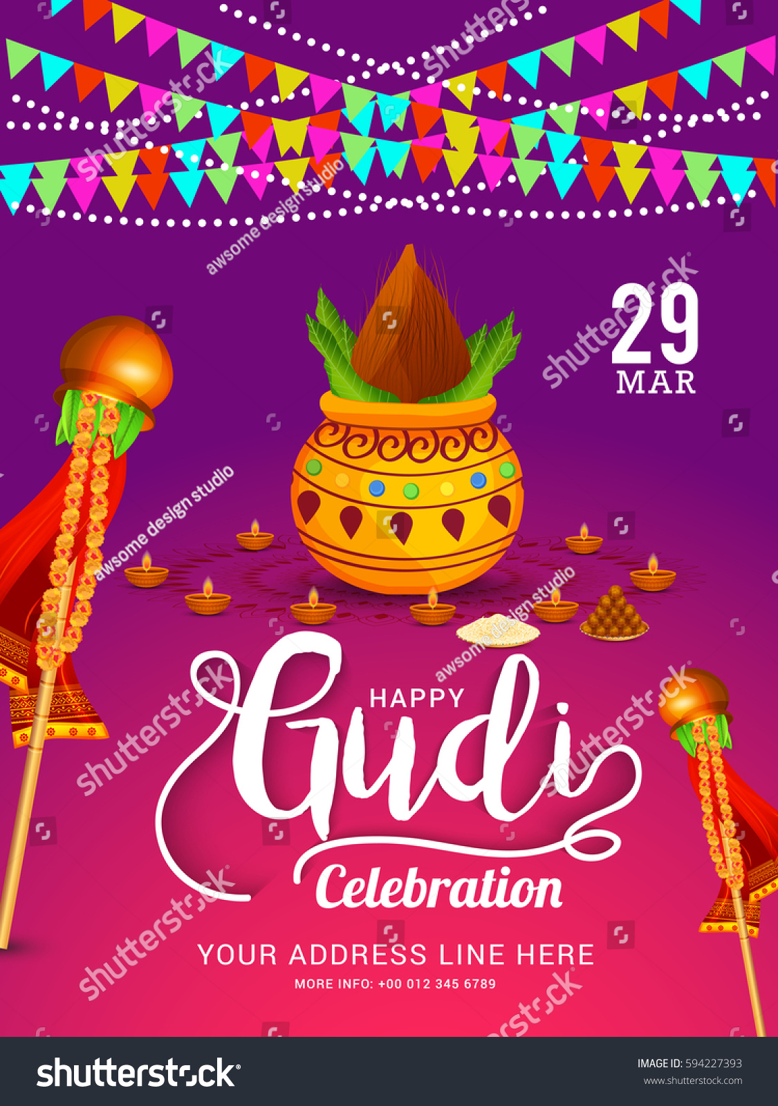gudi padwa marathi new year celebration invitation background