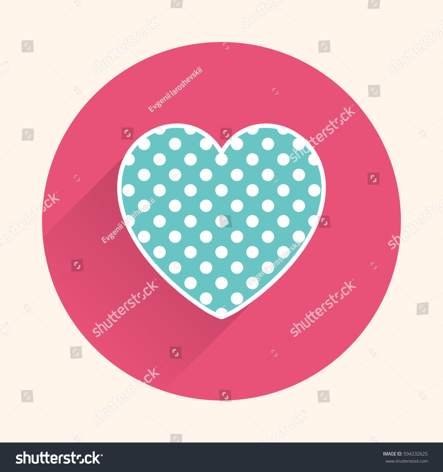 Flat Heart Icon Stock Vector 594232625