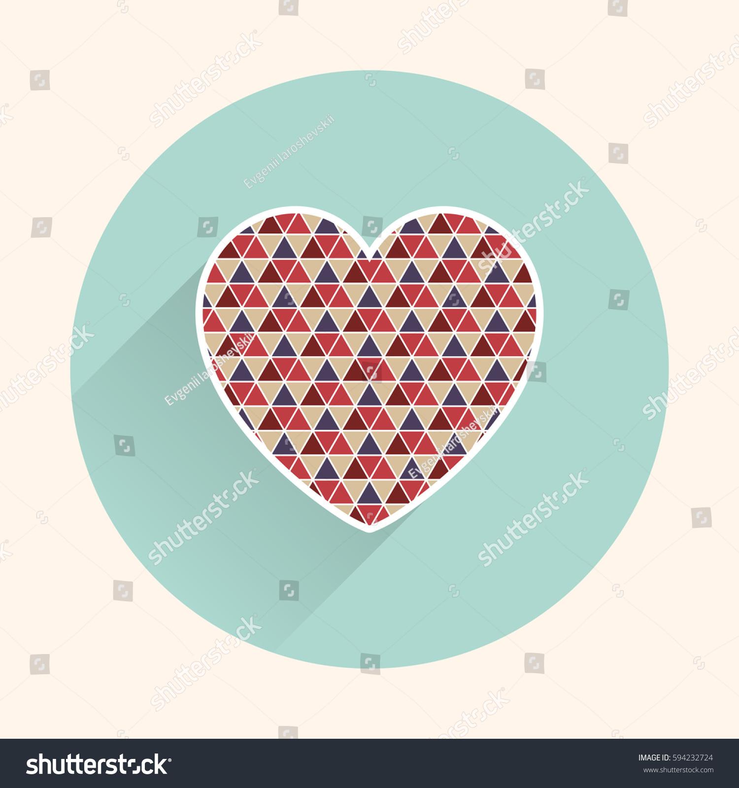 Flat Heart Icon Stock Vector 594232724