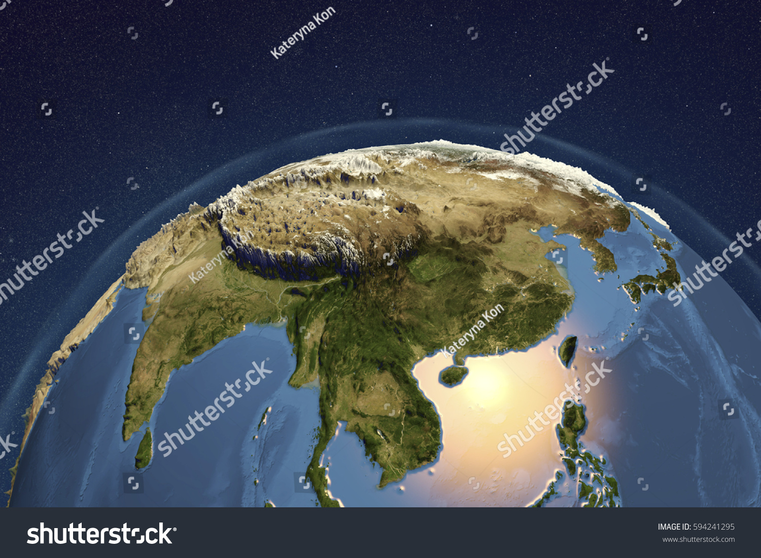 Planet Earth Space Showing Asia Enhanced Stock Illustration