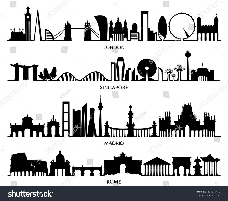 City Silhouette Vector Illustration Design London Stock