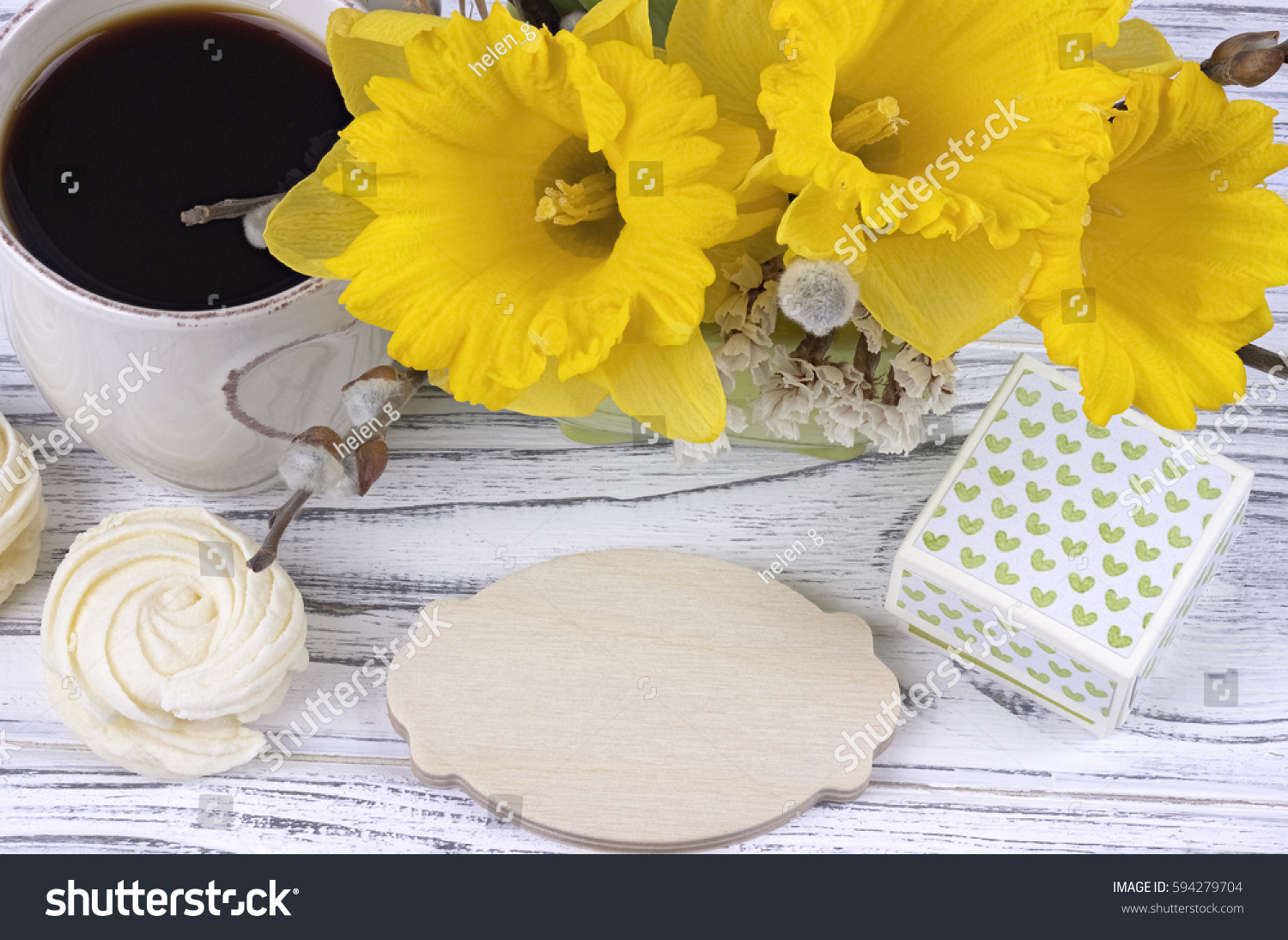 Cup Of Coffee With Marshmallow Green Gift Box Yellow Flowers On