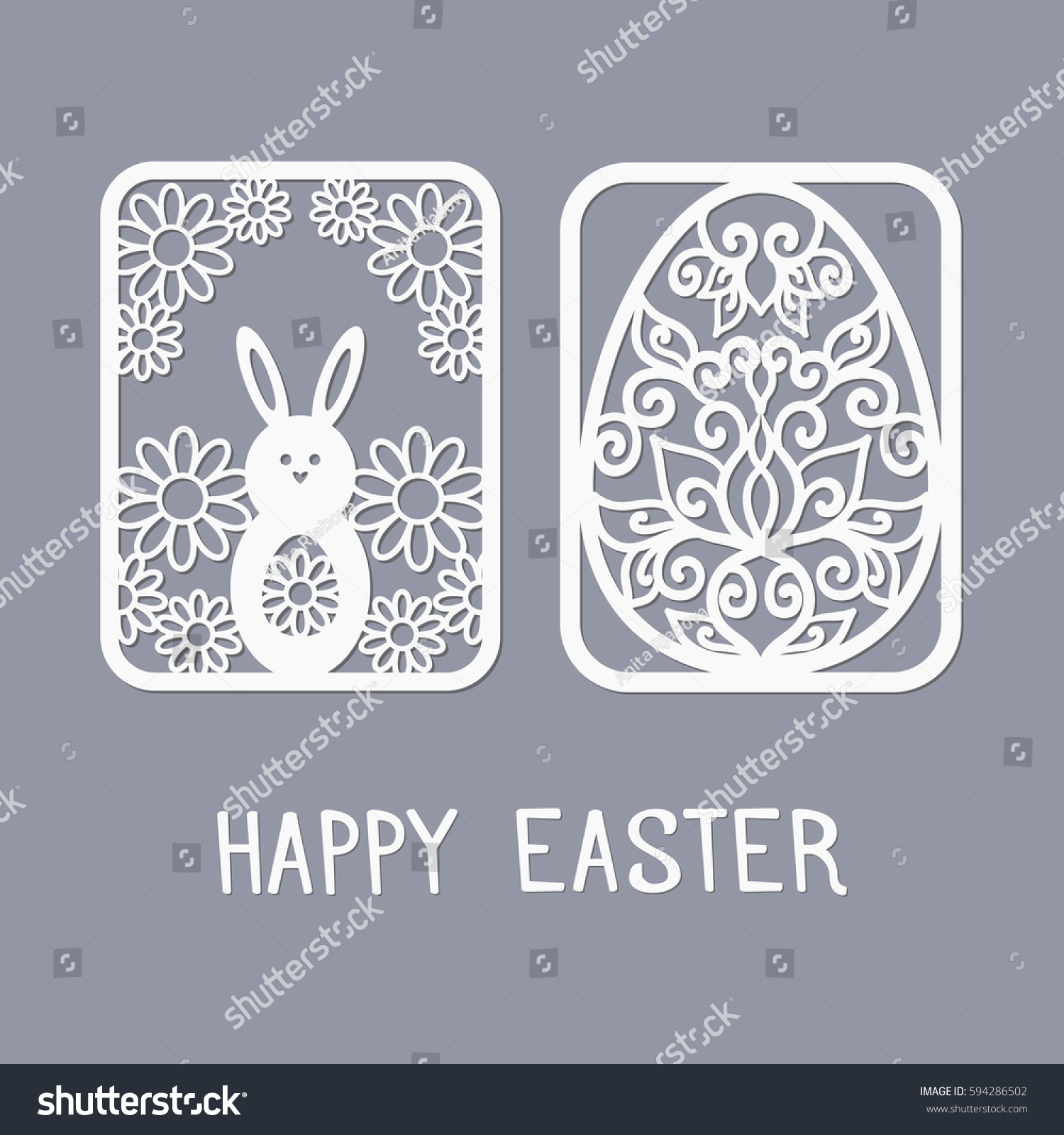 Easter Templates Laser Cutting Illustration Paper Stock Vector (2018 ...