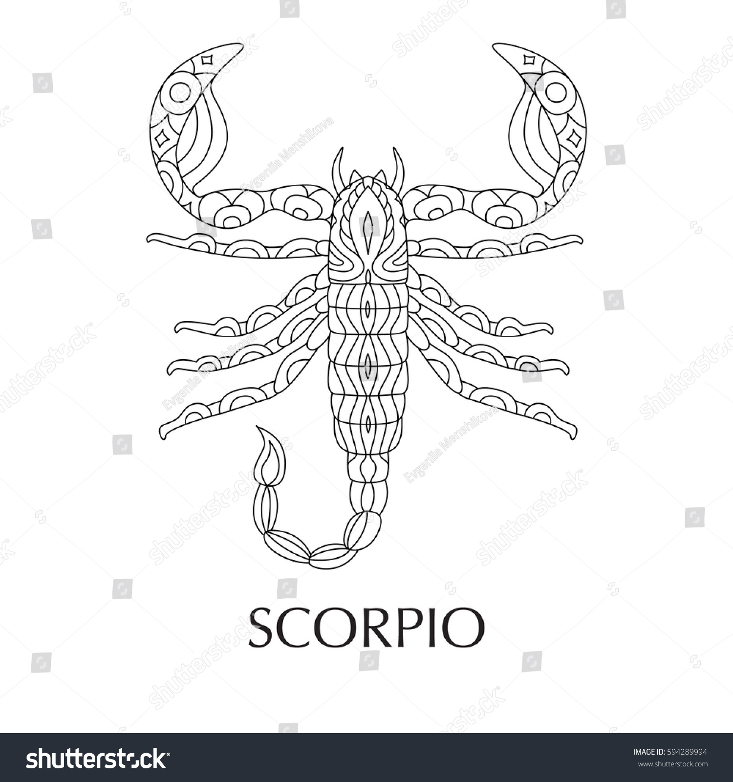 Coloring pages zodiac signs - Vector Illustration Of Scorpio Zodiac Sign Tattoo Coloring Page T Shirt