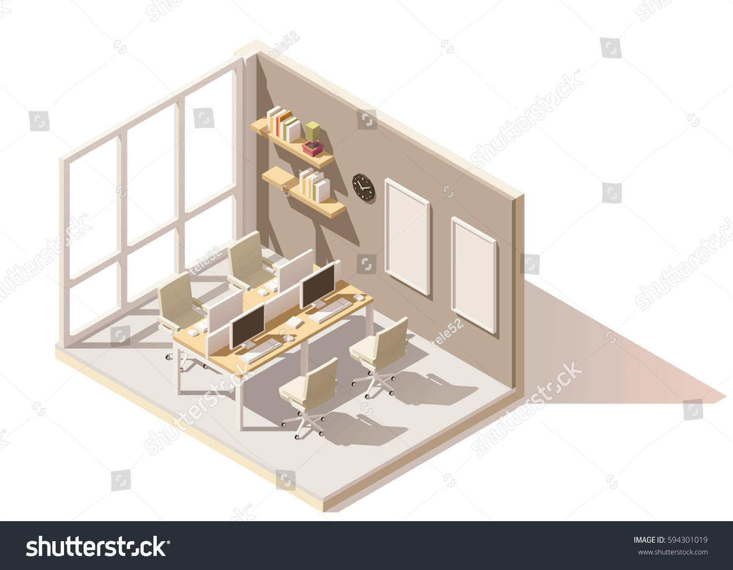 Vector isometric low poly office room stock vector for X ray room floor plan