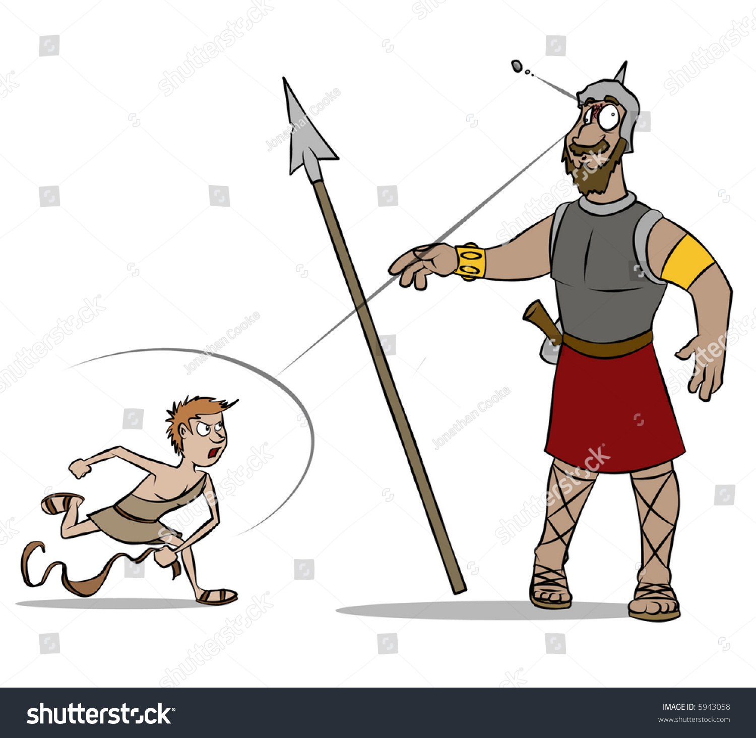 classic bible story david versus goliath stock illustration