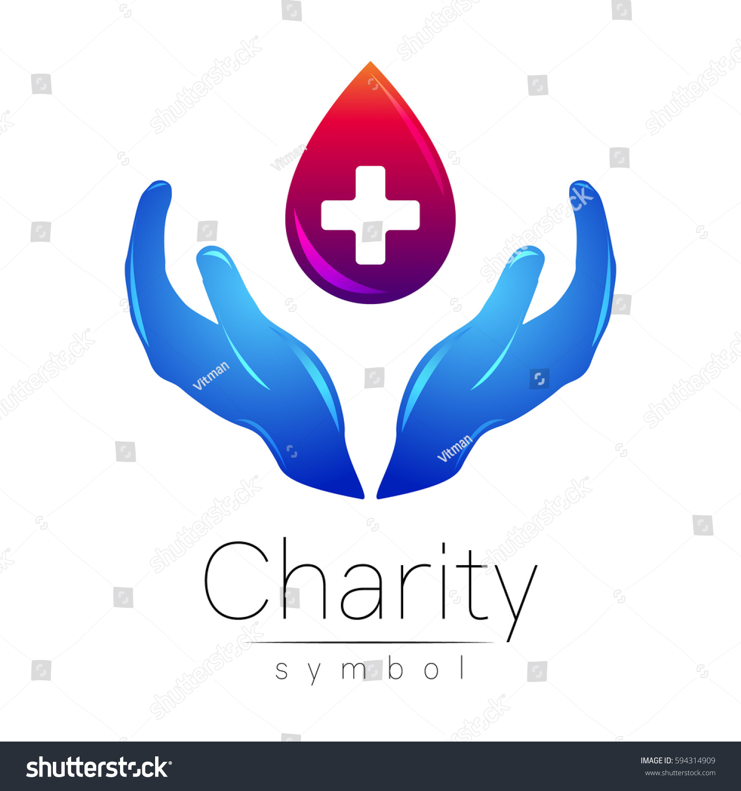 Vector Logo Illustration Symbol Charity Sign Stock Vector 594314909