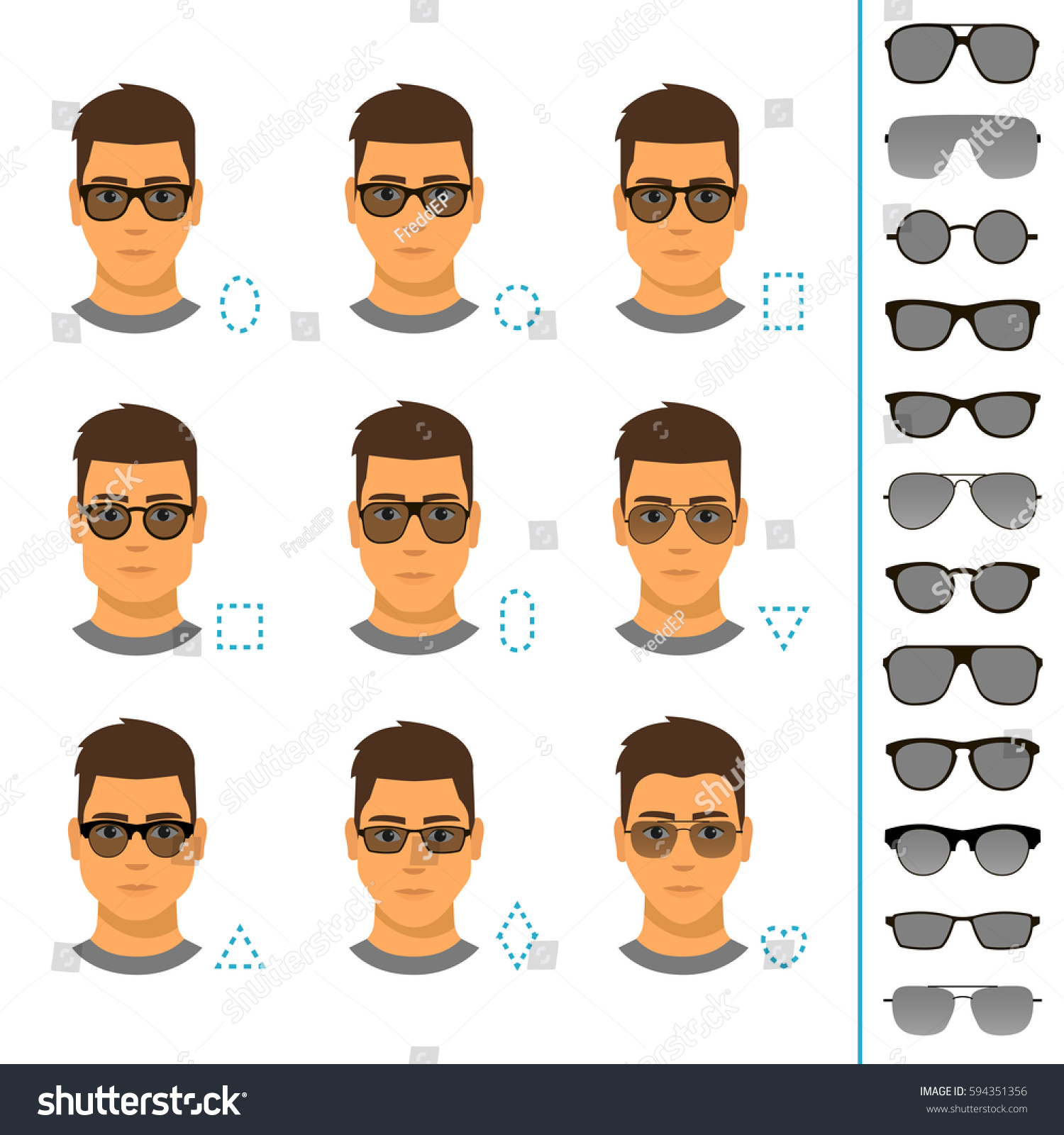 Different Glasses Shapes Different Face Shapes Stock Vector Royalty