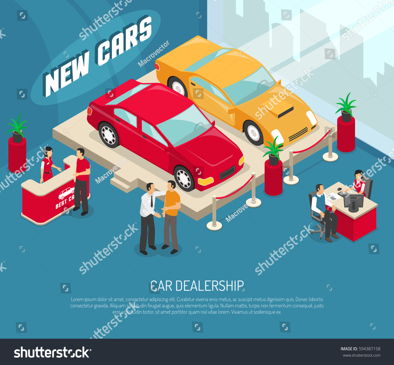 colored car dealership leasing composition people stock vector 594387158 shutterstock. Black Bedroom Furniture Sets. Home Design Ideas