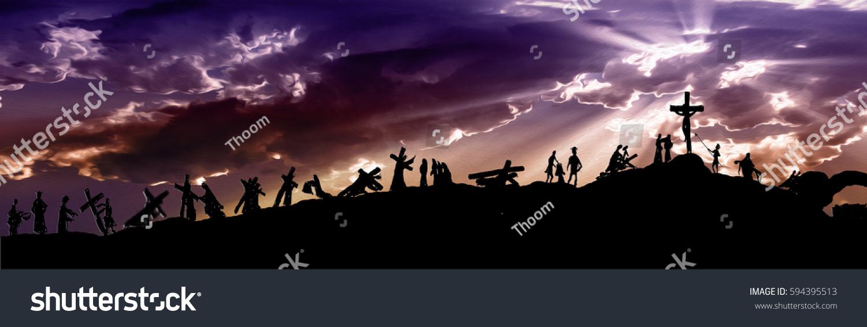way cross stations cross silhouettes jesus stock illustration