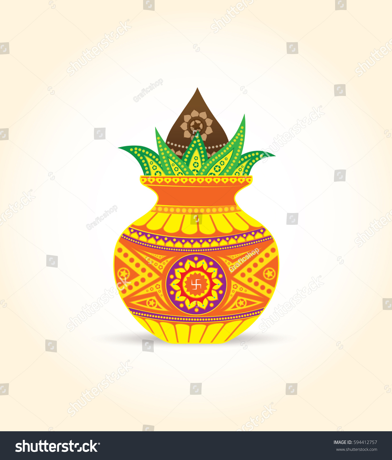 Vector Kalash Illustration Coconut Mango Leaf Stock Vector ...