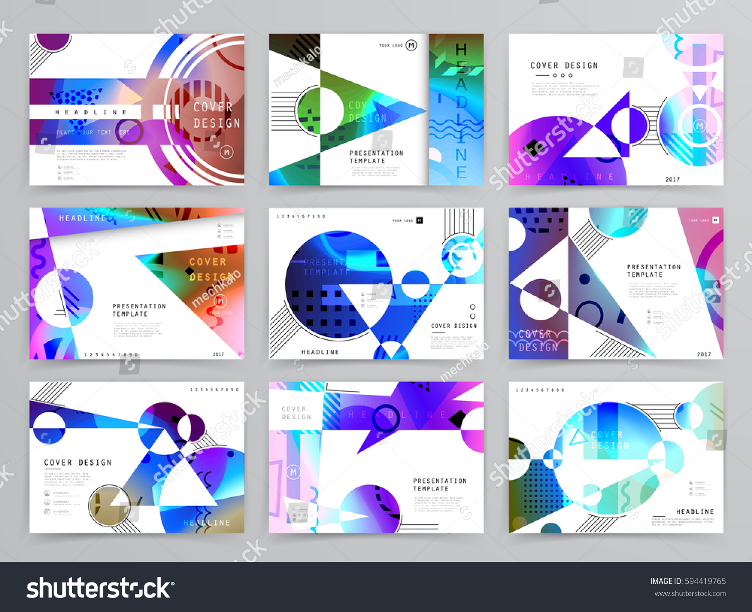 Colorful geometric brochure design leaflet abstract stock for Colorful brochure templates