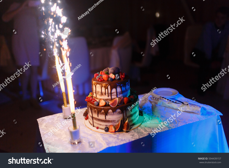 Beautiful Wedding Cake Decorated Two Flares Stock Photo Edit Now