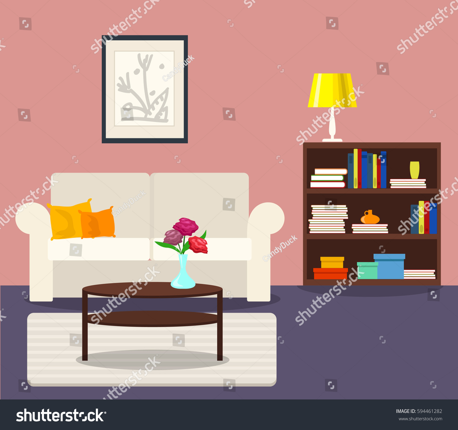 Interior Of Modern Living Room In Flat Design Stock Vector: Vector Interior Flat Design Living Room Stock Vector