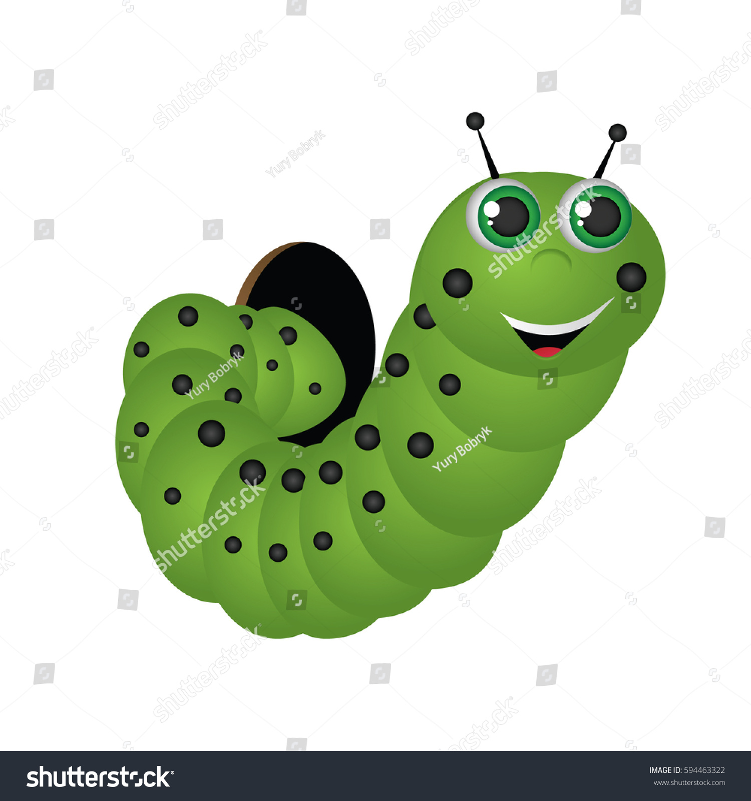 Small Cute Cartoon Caterpillar Gets Out Stock Vector Royalty Free