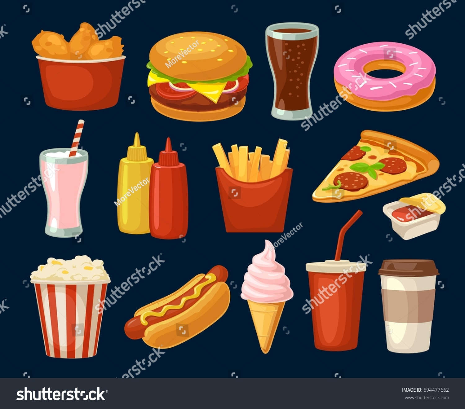 Set Fast Food Icon Cup Cola Stock Vector 594477662 - Shutterstock