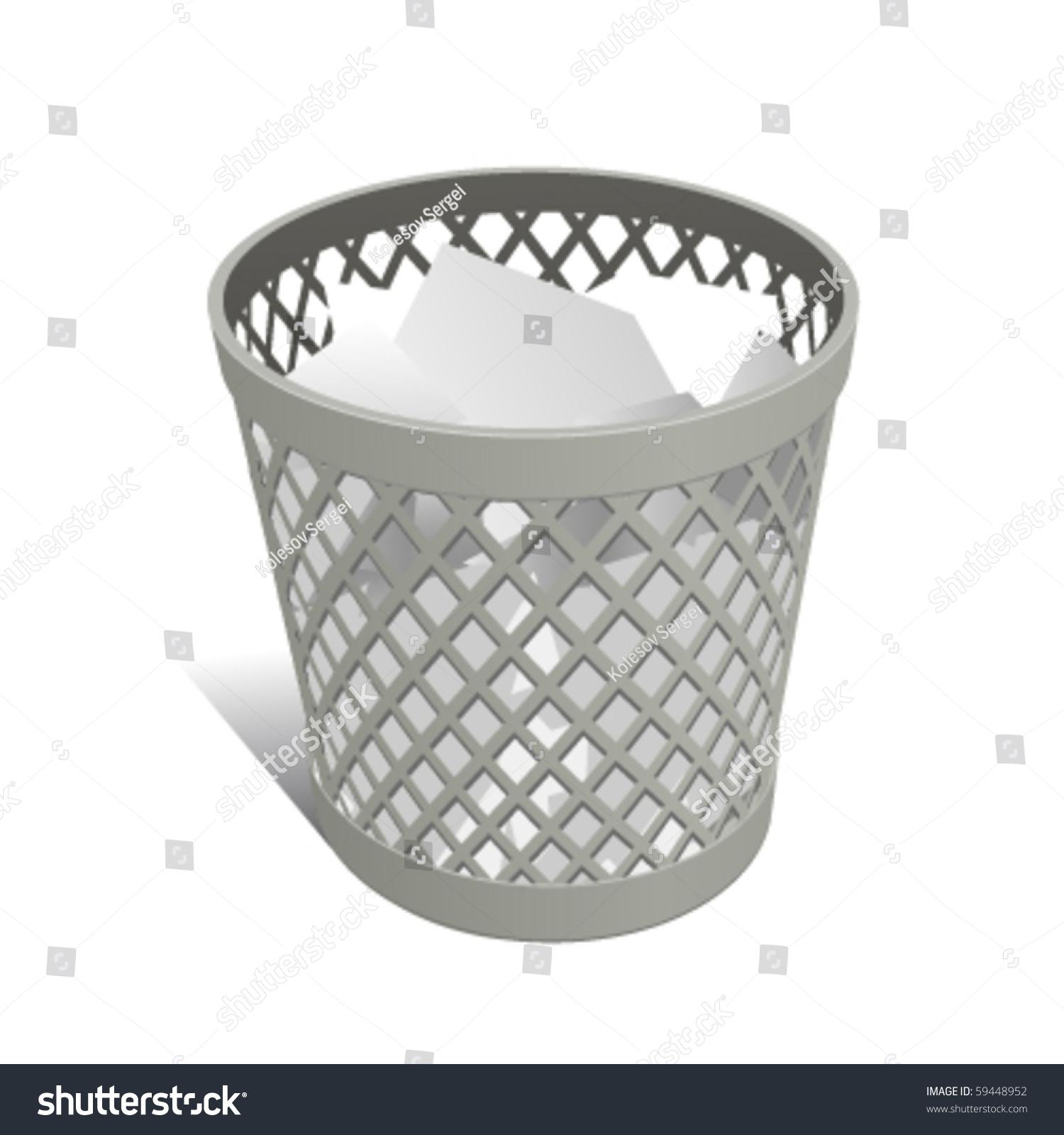 Wastepaper Basket Wastepaper Basket White Full Stock Vector 59448952  Shutterstock