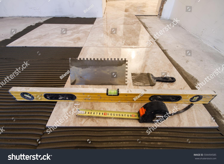 Ceramic Tiles Tools Tiler Floor Tiles Stock Photo Edit Now