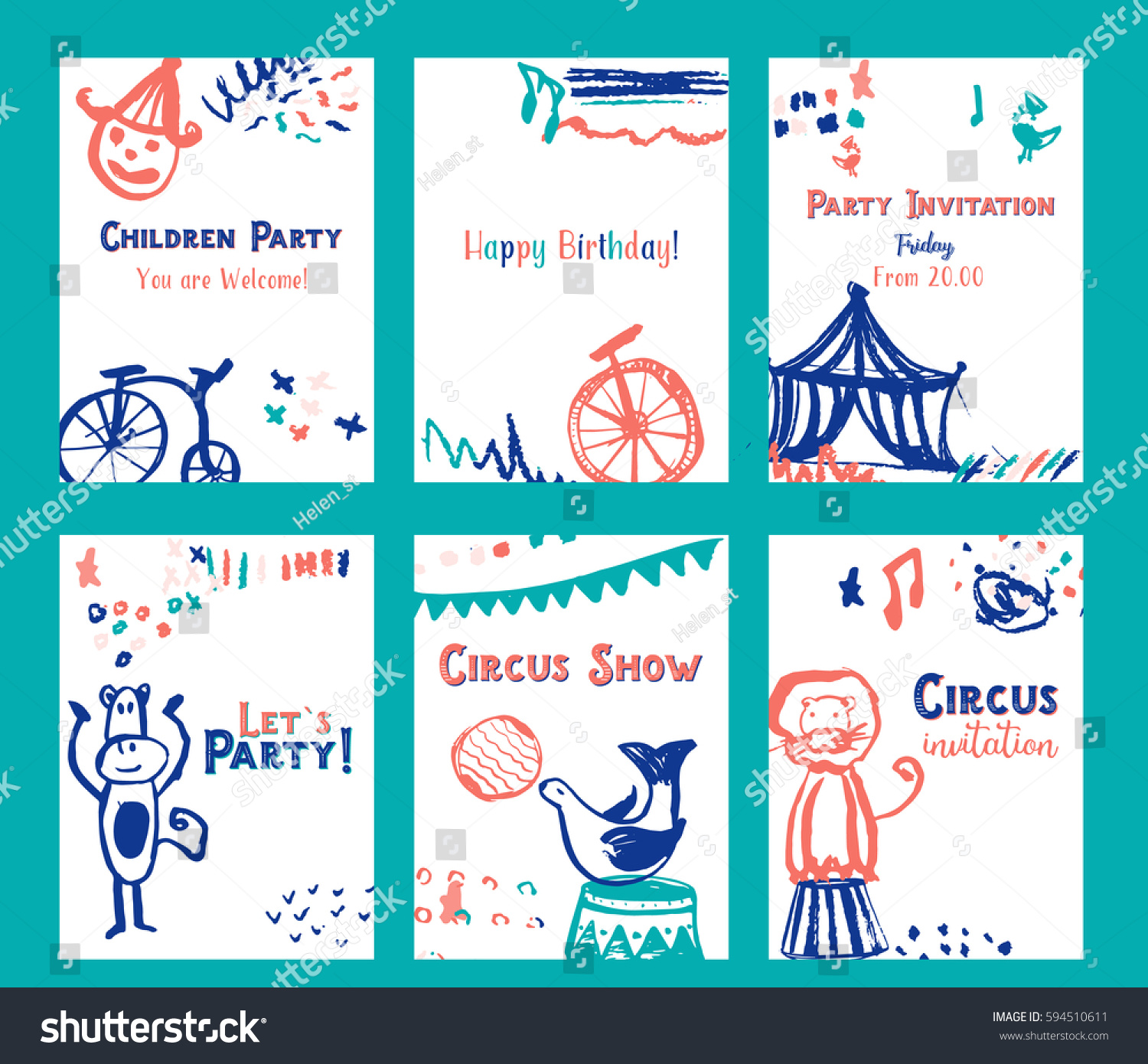 Kid Birthday Invitation Card Design Set Vector 594510611 – Birthday Invitations Cards Designs