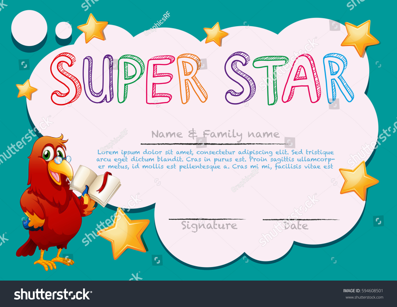 Certificate template super star illustration stock vector certificate template for super star illustration 1betcityfo Gallery
