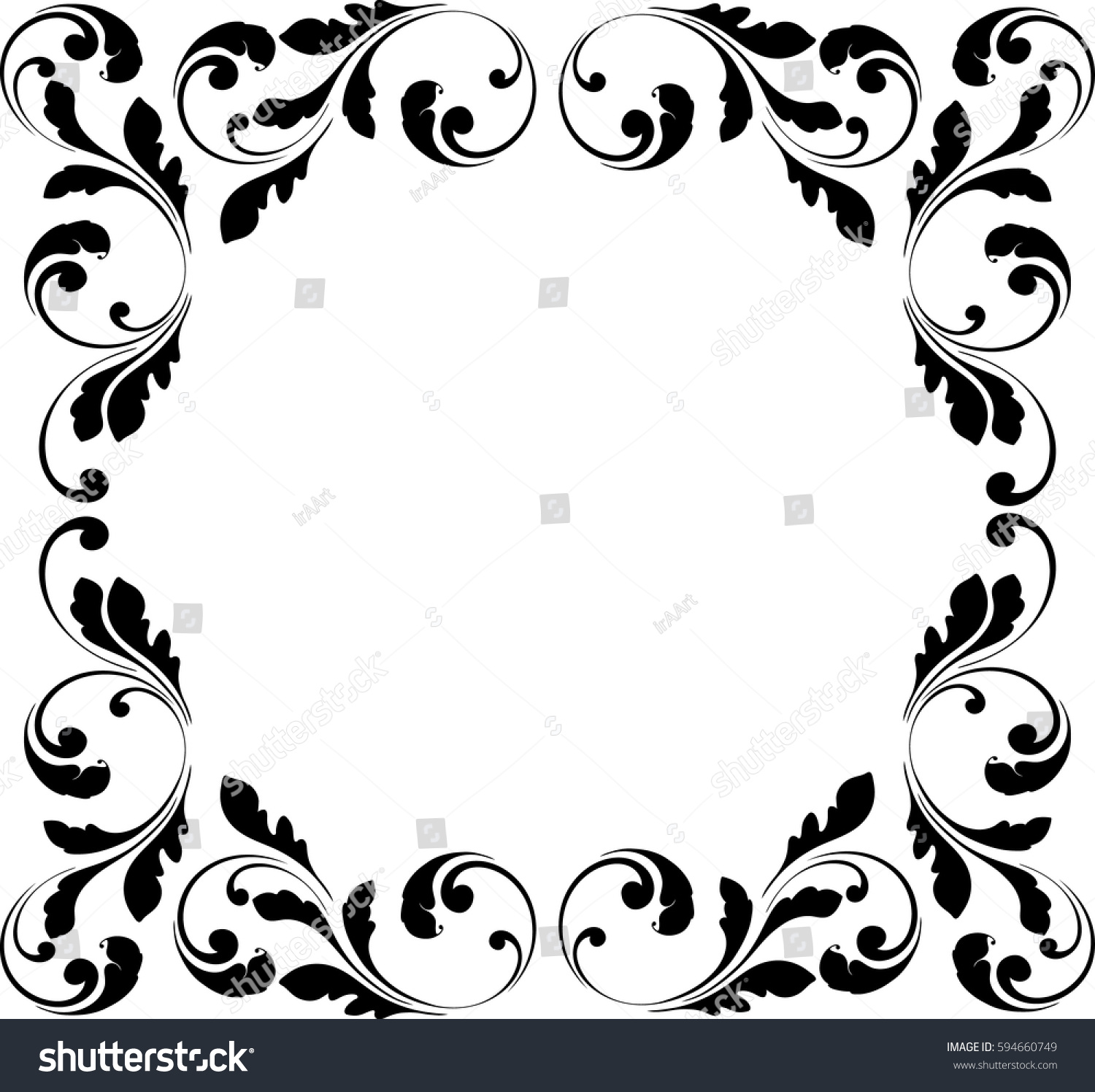 Decorative Black Flower Border Stock Image: Decorative Frame Floral Swirls Flowers Border Stock Vector