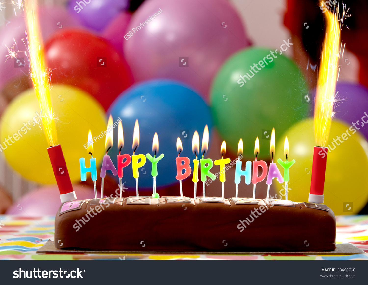 Birthday Cake Candles Lit Balloons On Stock Photo 59466796