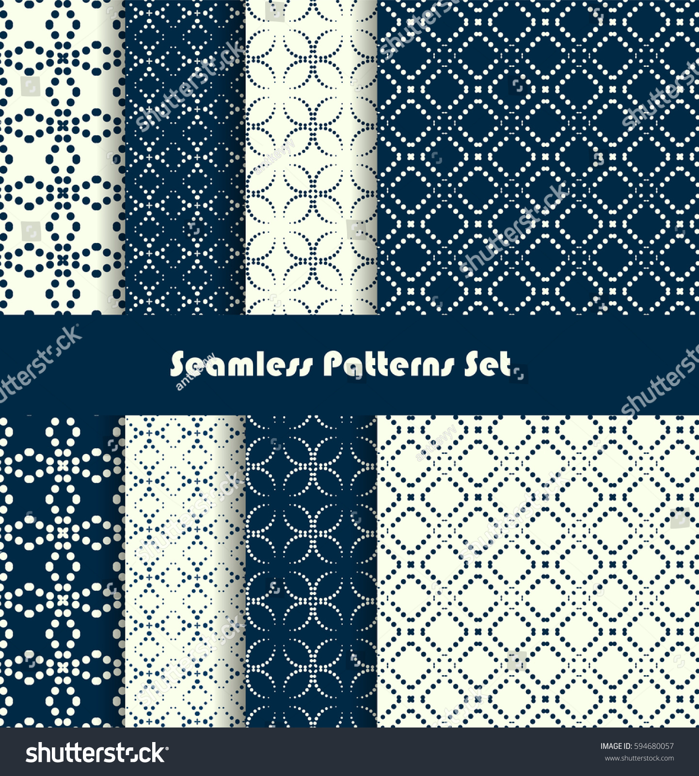 dotted lines seamless pattern set vector stock vector