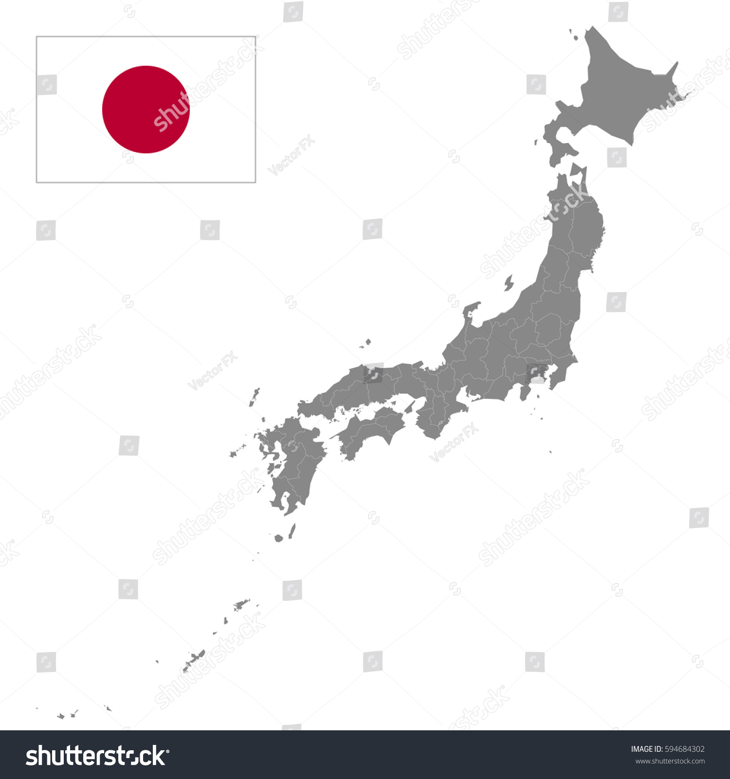 Japan Map Borders Regions Detailed Vector Stock Vector - Japan map regions
