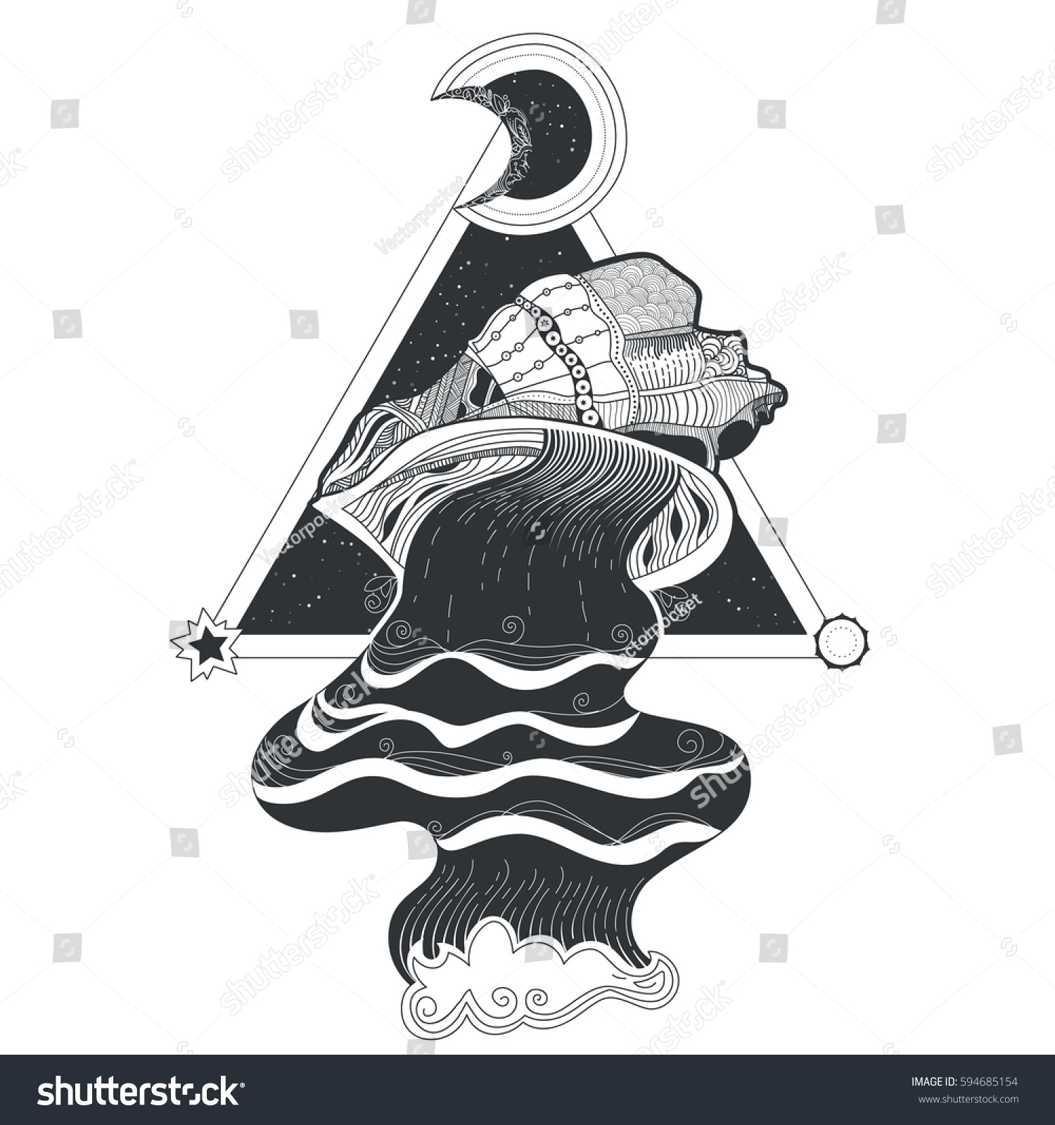 Vector tribal pattern tattoo flow water stock vector for Ink flow tattoo