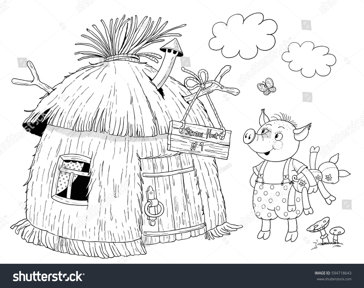 three little pigs fairy tale cute stock illustration 594718643