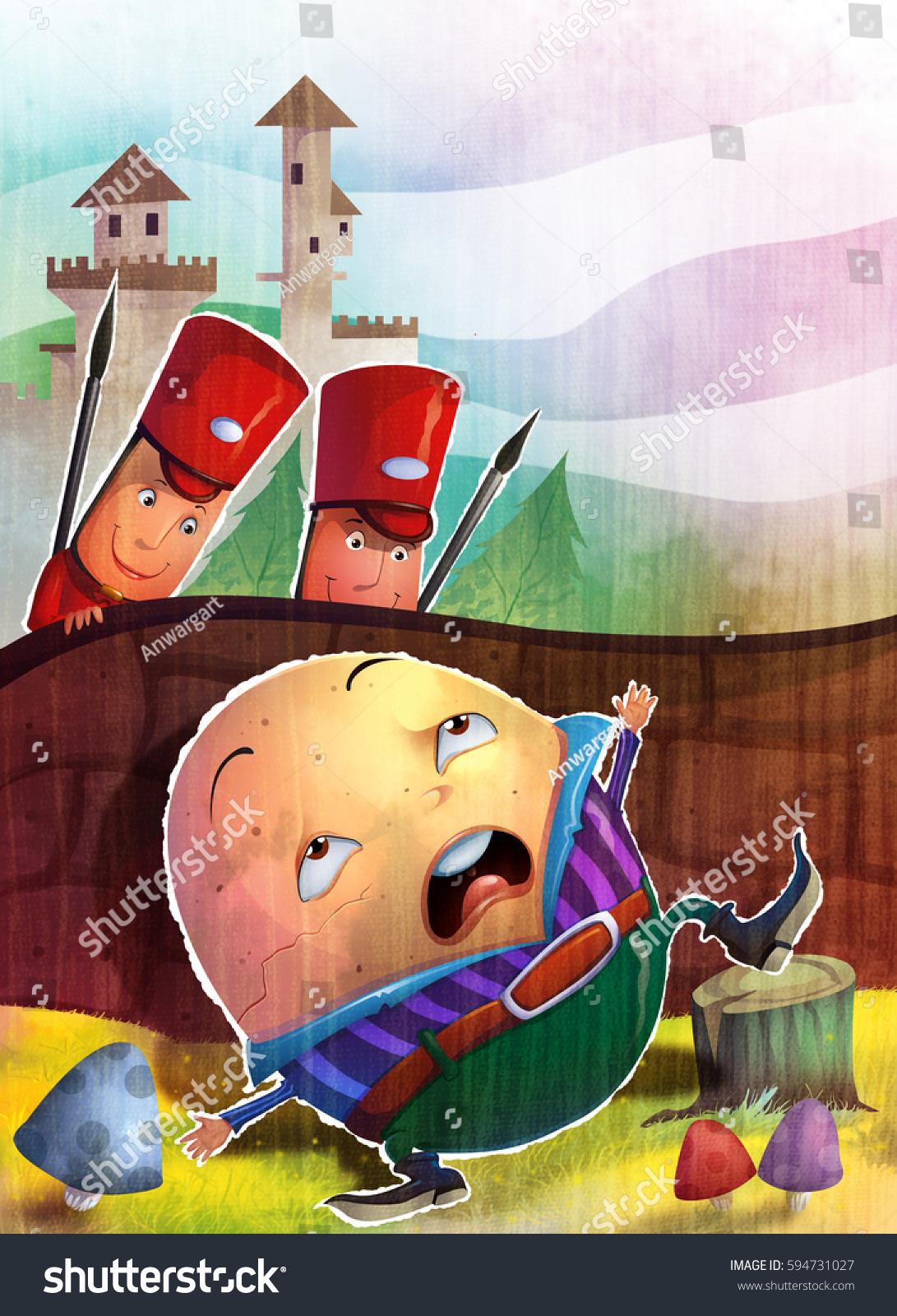 Illustration Humpty Dumpty Sat On Wall Stock Illustration 594731027
