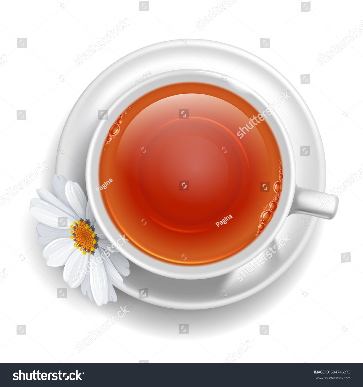 Cup Black Tea On Saucer Daisy Stock Vector Royalty Free 594746273