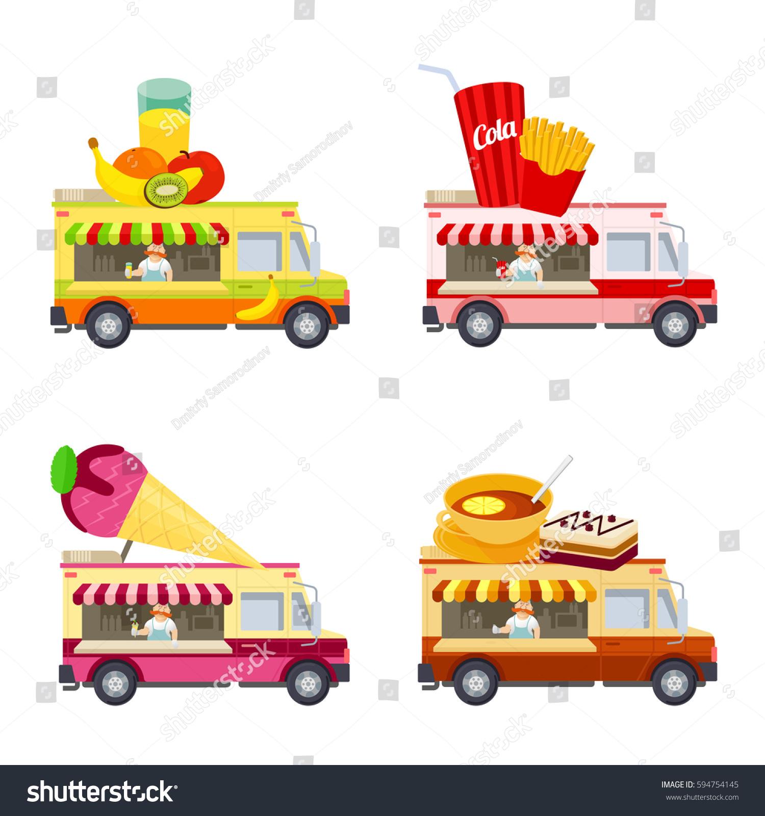 food truck vector flat illustration modern stock vector 594754145 shutterstock. Black Bedroom Furniture Sets. Home Design Ideas
