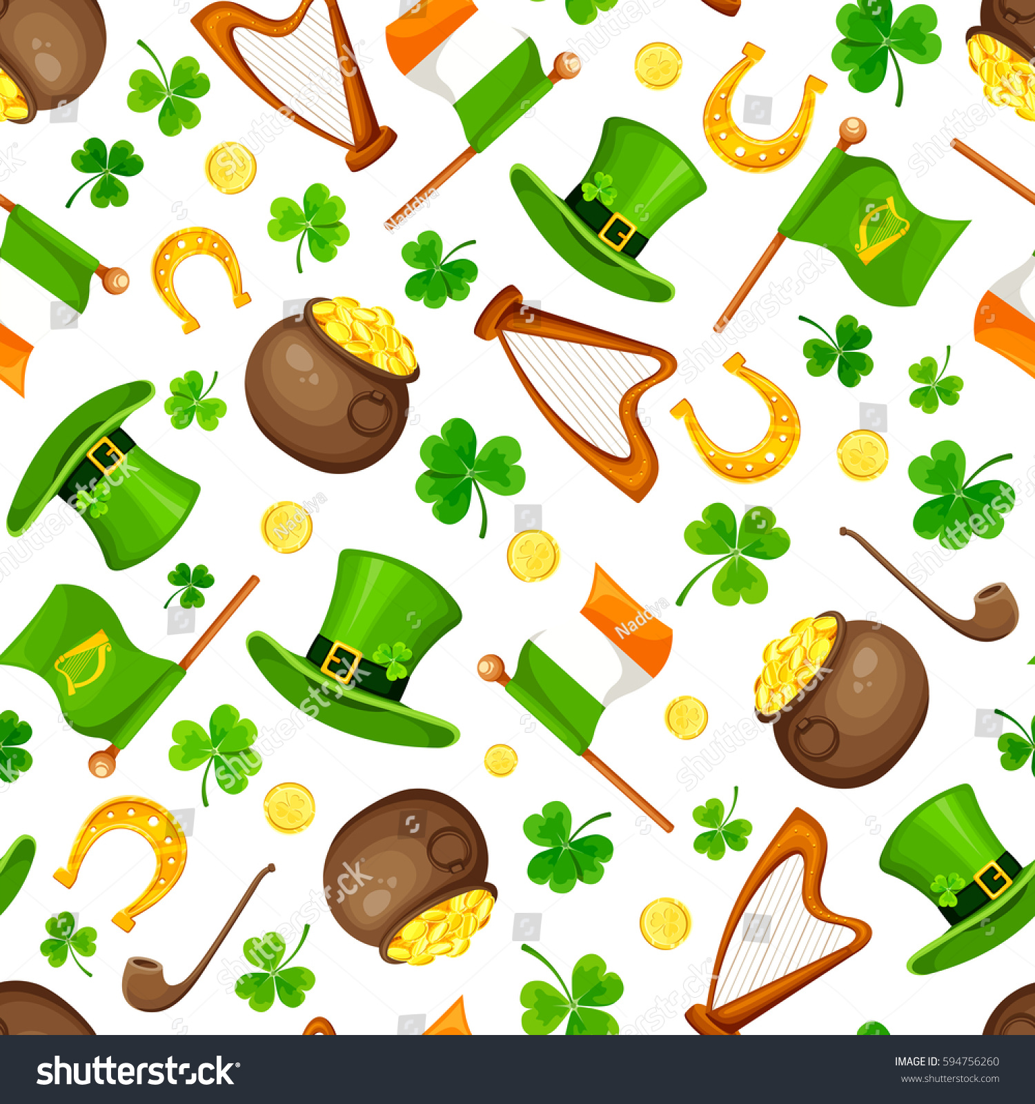 vector st patricks day seamless pattern stock vector 594756260