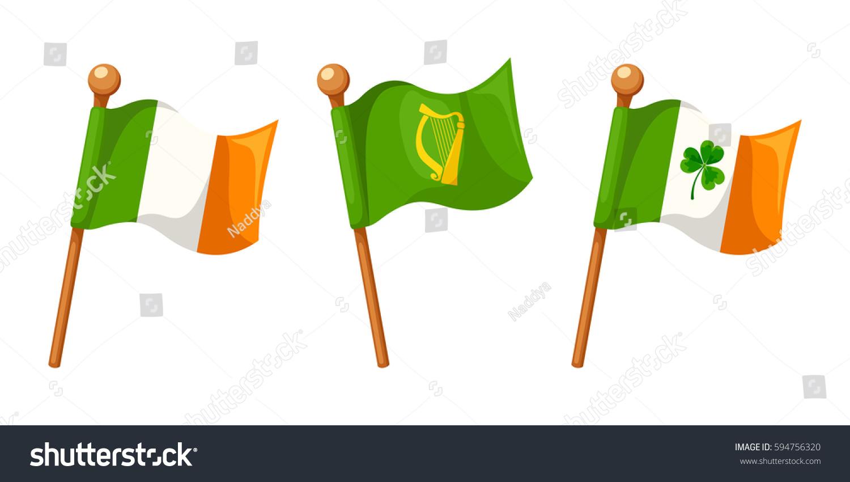 vector set irish flag irish flag stock vector 594756320 shutterstock