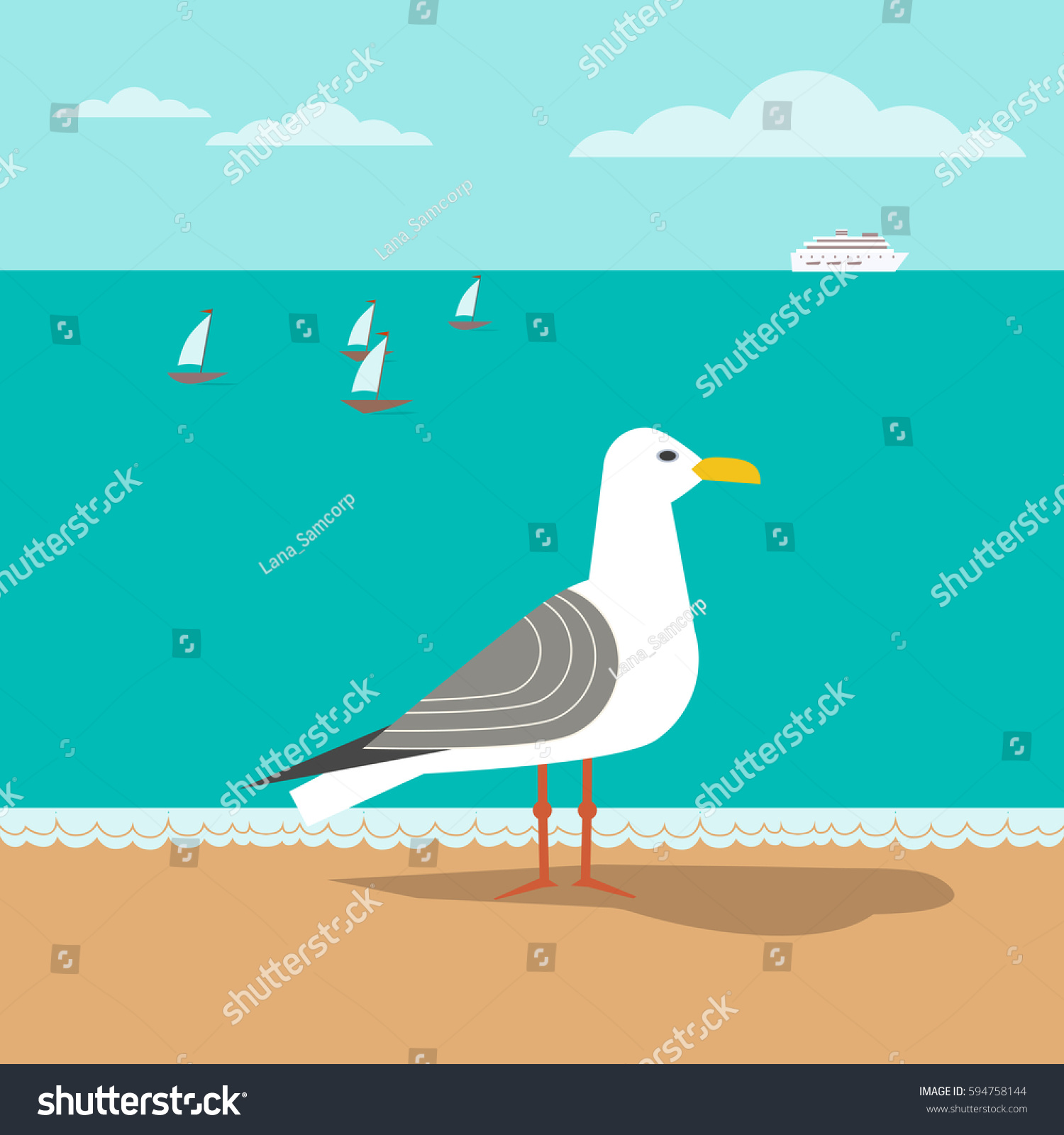 Seagull On Sandy Beach Freehand Fancy Cartoon Style Seaside Vacation