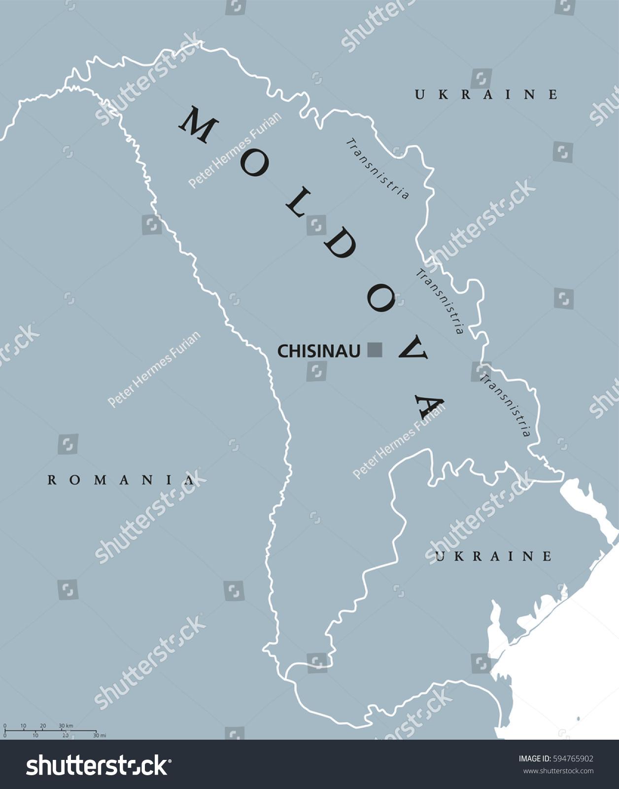 Moldova Political Map Capital Chisinau Transnistria Stock Vector - Transnistria map