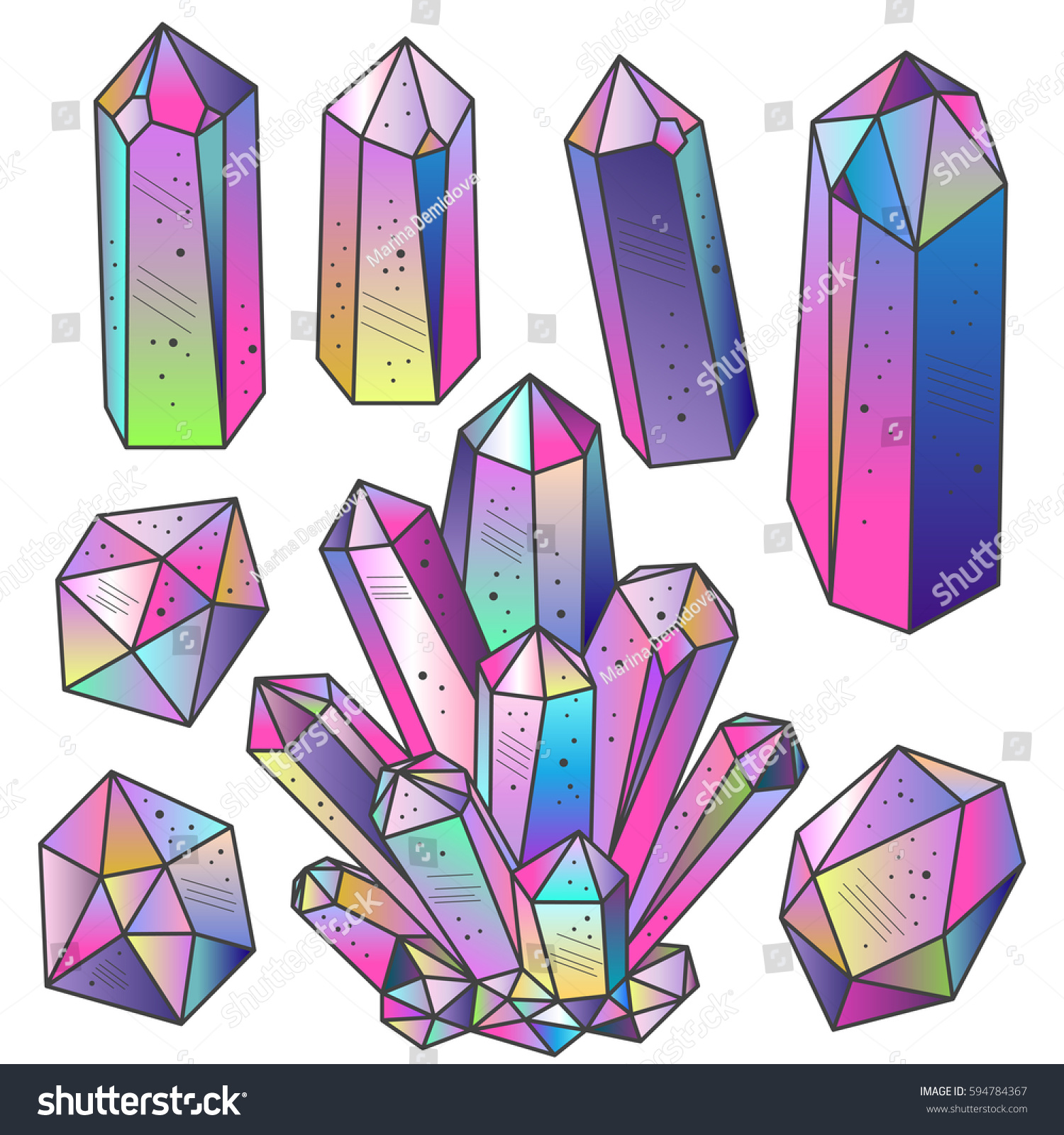 Crystal Gems Logo Icon: Magic Fairytale Crystals Sketch Hand Drawn Stock Vector